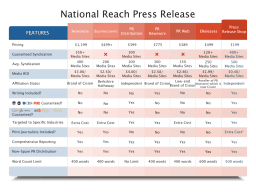 Press Release comparison of services